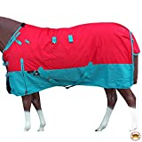 HILASON 78' 1200D Poly Waterproof Turnout Winter Horse Blanket Red