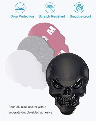 Astra Depot 3D Chrome Bone Red Eyes Metal Skull Emblem Sticker Decal Logo Fender Hood Car Motorcycle Pack of 2 3D Metal Skull Sticker