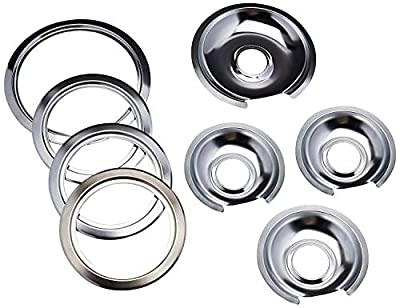 """Range Kleen - Chrome Style D contains (3) 6"""" pan/ring & (1) 8"""" pan/ring for GE, Hotpoint, & Kenmore prior to 1995"""