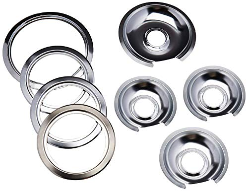 "Range Kleen - Chrome Style D contains (3) 6"" pan/ring & (1) 8"" pan/ring for GE, Hotpoint, & Kenmore prior to 1995"