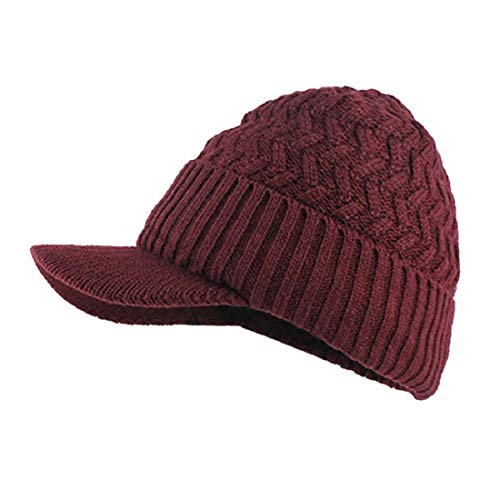 DEELIN 1998 Hombres Caliente Holgado Tejido Crochet Invierno Lana Tela Esquí Beanie Sombreros Sombrero De Ganchillo Gorras Gorros (Talla única, S-Rojo)