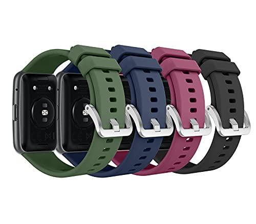 MoKo 4 PZS Correa Compatible con Huawei Watch Fit Active Elegant, Pulsera de Repuesto de Silicona Suave, Transpirable, Resistente al Sudor, Multi C