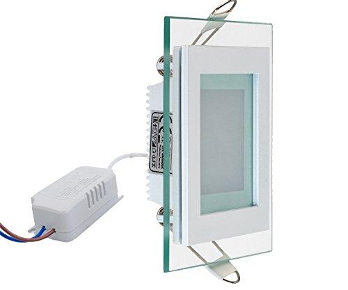 6w Glas Design LED Panel mit Glas Rahmen Unterputz Einbauleuchte Einbaulampe Deckenleuchte Deckenlampe Lampe Lichtpanel Eckig 96x96 mm Neutralweiss