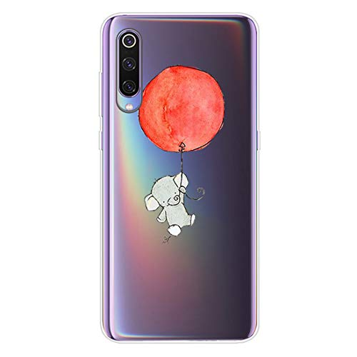 MSPTER Funda Mi 9 Lite de silicona suave transparente de TPU con dibujos animados creativos, fina y protectora de TPU para Xiaomi Mi 9 Lite