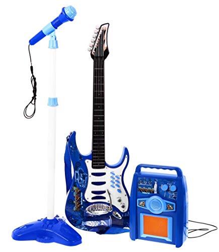Rock-Gitarre mit Stahlsaiten, Verstärker, verstellbare Stativ und Mikrofon - Rockgitarre für Kinder - Kinder-Gitarre - Rock Guitar - Spielzeug-Gitarre - Gitarre mit Spielfunktionen - Kleinkind Musikinstrument - erste Gitarre für Kleinkind - BLAU