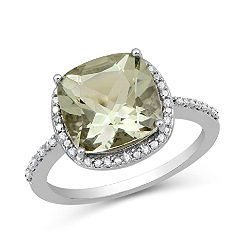 Jewelili Sterling Silver 10x10MM Cushion Cut Green Amethyst and 1/10 Cttw Natural White Round Diamond Halo Ring, Size 7