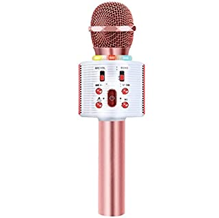 CREUSA Wireless Microphone, Portable Cordless Mic Handheld Karaoke Family Kids Player KTV Speaker with LED Ideal for Karaoke/Weddings/Party/Company/Birthday Compatible iPhone, Android, iPad, PC and All Smartphones (Pink) (B08356XM95) | Amazon price tracker / tracking, Amazon price history charts, Amazon price watches, Amazon price drop alerts