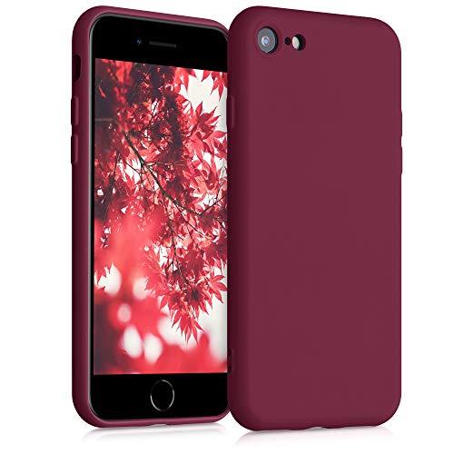 kwmobile Slim Hülle kompatibel mit Apple iPhone 7/8 / SE (2020) - Hülle Silikon Handy - gummiert - Handyhülle Rhabarber Rot