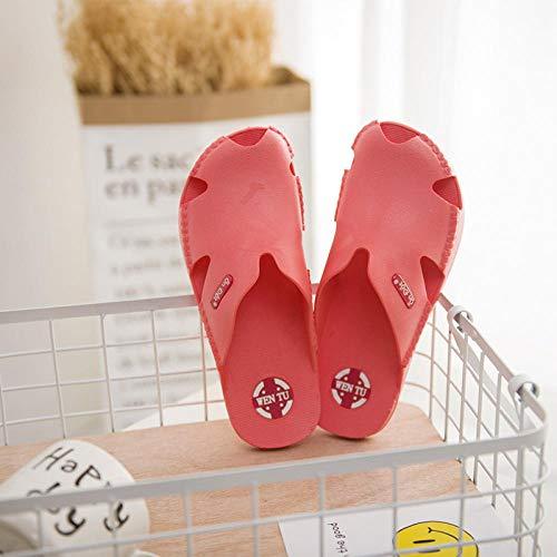 LLGG Zapatos de Playa Piscina Unisex Adulto,Zapatos de Playa para el hogar de Interior, Bolsa de Bolsa de Cabeza Suave Anti-Arena-Melon Rojo_43,Zapatillas Interior Piso