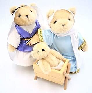 DENTT A Teddy Bear Christmas Nativity Set, Joseph, Mary and Baby Jesus in Manger