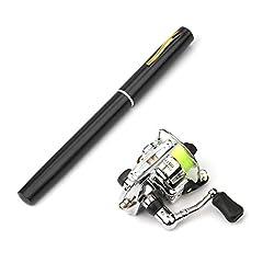 Mini Tragbare Holzgriff-Angelrute und Metall Rolle zum Eisfischen Alomejor EIS Angelrute mit Rolle