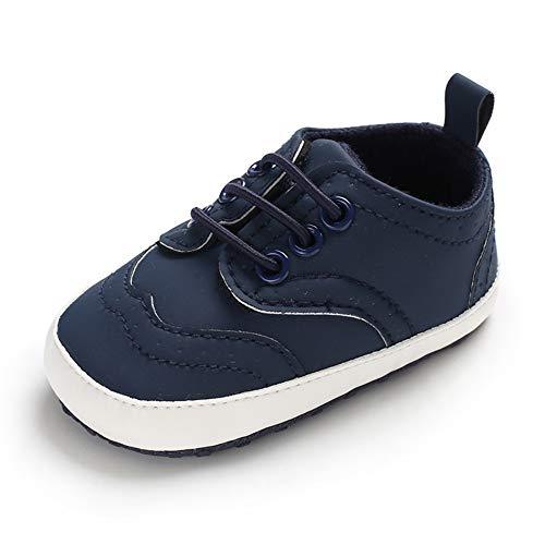 LACOFIA Baby Jungen Lauflernschuhe Kleinkinder Weiche Sohle Schnüren Sneakers Marineblau 6-12 Monate