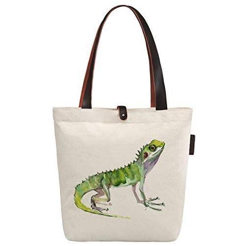 So each Women s Lizard Animal Graphic Canvas Handbag Tote Shoulder Bag 2302cfa3ec161
