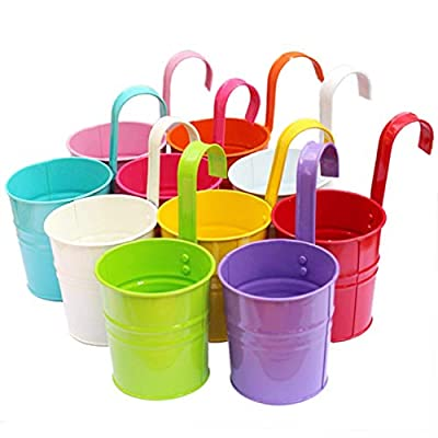 Tosnail Colorful Iron Flower Pot Hanging Planters Balcony Garden Plant Planter Metal Bucket Flower Holders - 10 Colors Available