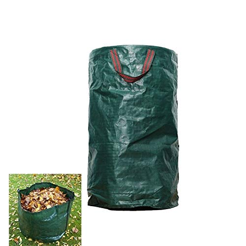LJIANW Garden Waste Bags, High Capacity Sacks With Handles Heavy Duty Garden Garbage Bag Recyclable Reusable, Waterproof PP With Drawstring And Gloves (Color : Green, Size : 60L/38X45CM)