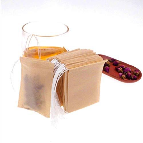 Queta Teebeutel feine Teefilter Selbstbefüllbar Einweg für Tee Obsttee Blumentee Gewürz Kräuterpulver 200 Stücke 6X 8cm (Weiß+Braun)