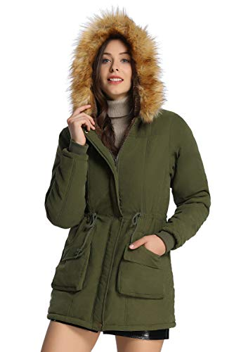 Womens Hooded Faux Fur Lined Olive Green Jacket Coat