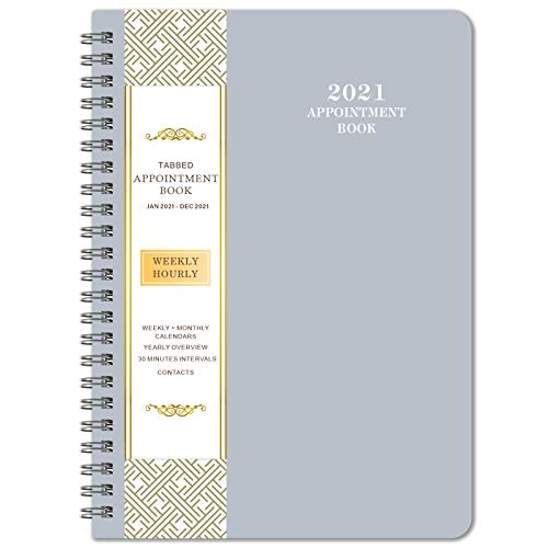 """2021 Planner & Appointment Book - Jan. 2021 to Dec. 2021, 6.4"""" x 8.5"""", Daily/Hourly Planner with Tabs, Grey"""