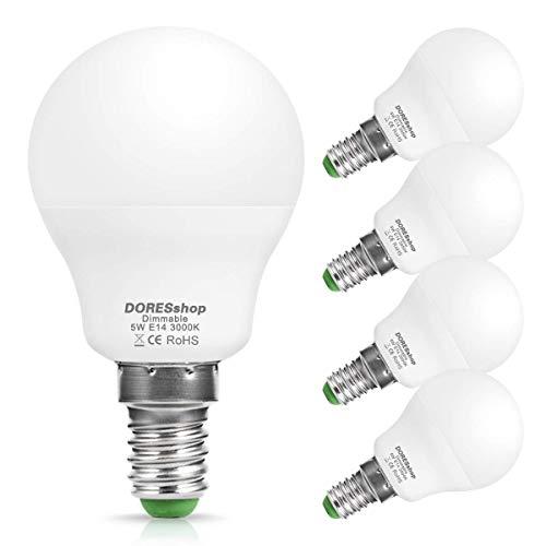 E14 LED Dimmbar Lampe, DOERSshop P45 Tropfenform Glühbirne, 5W (ersetzt 40W), Warmweiß 3000K, 450LM, 240 ° Abstrahlwinkel, 4er-Pack