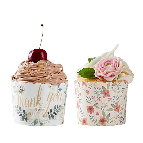 OJelay Baking Cups Paper Muffin Cup 100pcs Floral Greaseproof Disposable Bulk Cupcake Wrapper Liner, Floral