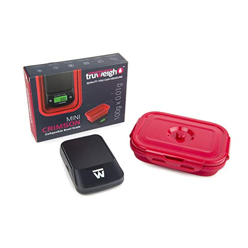 Truweigh Mini Crimson Digital Scale - (100g x 0.01g Black Red) -Digital Kitchen Scale with Bowl - Digital Travel Scale - Portable Food Scale - Meal Prep Weight Scale - Digital Gram Scale