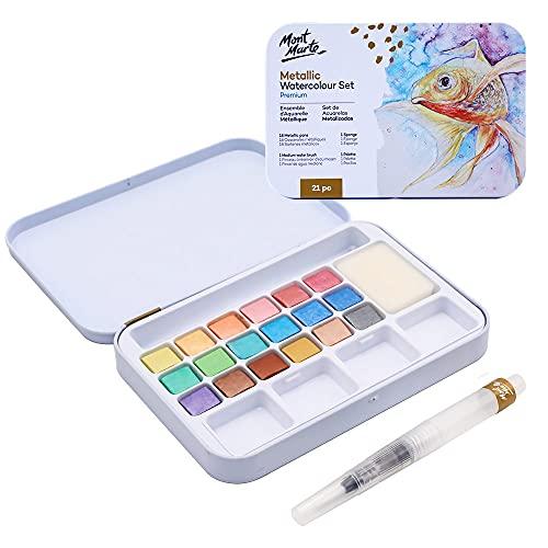Mont Marte Premium Metallic Watercolor Cake Set, 21 Piece, 18 Colors, 1 Water Brush, 1 Sponge, 4 Mixing Wells