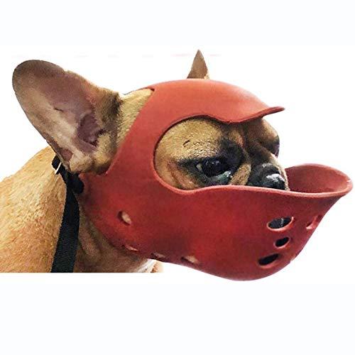 ZHXY Kurze Schnauze Hund Maulkorb Haustier Hund Maske Für Französische Bulldogge Mops Boxer Pitbull Shih Tzu Weiche Kieselgel Mundabdeckung Zum Beißen Kauen Bellen Training (Farbe: Blau)