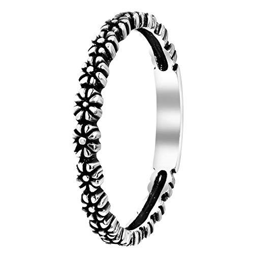 Lucardi - Silberner Ring mit Blumen Bali...