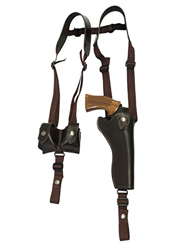 Barsony New Vertical Brown Leather Shoulder Holster w/Speed-Loader Pouch for Taurus 608 Right