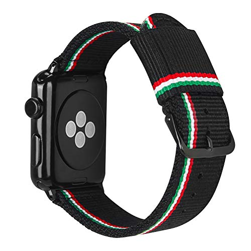 ESTUYOYA - Pulsera de Nailon Compatible con Apple Watch Colores Bandera de Italia Ajustable Estilo Deportiva Casual Elegante para 42mm 44mm Series 6/5 / 4/3 / 2/1 / SE/Nike+ - Line