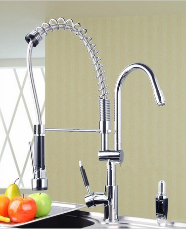 GOWE Best Double Handles Free Chrome Brass Water Kitchen Faucet Swivel Spout Pull Out Vessel Sink Single Handle Mixer Tap