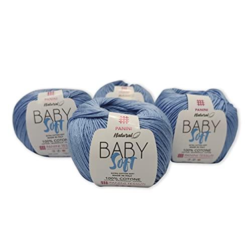 Panini Tessuti, 4 Gomitoli Cotone Baby Soft - Made in Italy - Disponibile più colori per lavori ai ferri n.3-4x 50g 179 m - Fai da te, Filati, Cotone