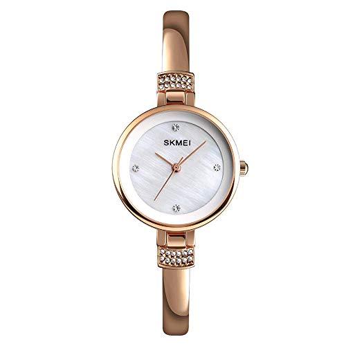 AZPINGPAN Reloj para Mujer con Exquisita Esfera de nácar, Pulsera de Diamantes de aleación de Zinc, Relojes de Pulsera, Elegante Vestido de Negocios de Moda Reloj de Pulsera de Cuarzo analógico