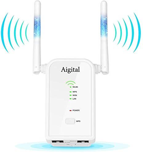 Ripetitore WiFi Repeater Range Extender Universale, Wifi Router Long Range modalità Repeater Router Access Point, amplificatore segnale wi-fi, 2 Antenne Esterne,Porta LAN WAN Ethernet,WPS,300Mbps