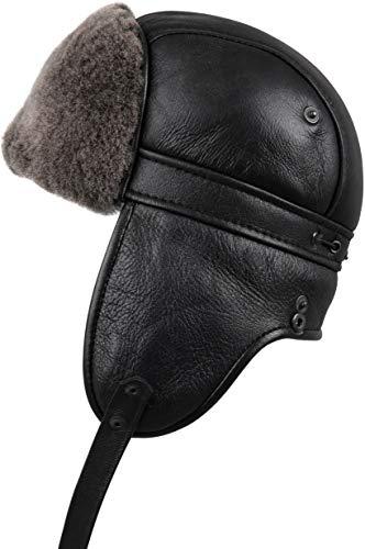 Zavelio Unisex Shearling Sheepskin Aviator Russian Ushanka with Snap Hat Medium Black