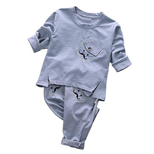 SUCES Neugeborene Strampler Familie Kleider Baby Lange Ärmel Babykleidung Baby Anziehsachen Kleinkind Kind Jungen Streifen Pullovers T-ShirtTops + Hosen Kleider Set Niedlich Outfits (24M, Gray)