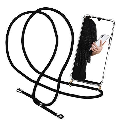 Funda con Cuerda para Samsung Galaxy A70 - Carcasa Samsung A70 de TPU con Colgante Case con Correa Colgante - con Cordon para Llevar en el Cuello en Transparente/Negro