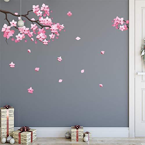 TAOZIAA Rosa Entfernbare Pfirsichpflaume Kirschblüte Blume Schmetterling Kunst Aufkleber Wand Home 3D Aufkleber Raum Dekor Grafik Blumen Blütenblätter Baum