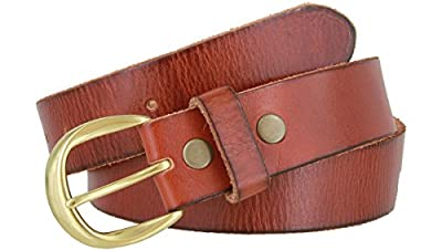 "Women's Full Grain Casual Leather Belt Polished Solid Brass Buckle 1-1/2"" wide (Tan, 44)"