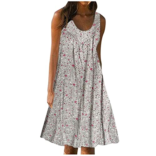 FQZWONG Women's Solid V Neck Casual Print Sundress Sleeveless Loose Plus Size Maxi Dress for Beach Holiday Dating (B-White,3X-Large)