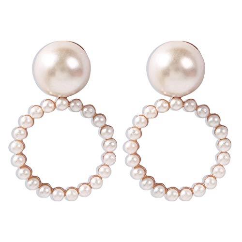 HTGL Los Pendientes De Mujer Son Elegantes Y Sencillos, con Pendientes Circulares En Forma De Perla, Un Temperamento Dulce Y Un Gran Regalo.