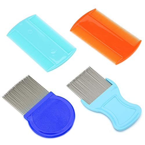 Dwpetzo 4 Pcs Head Hair Comb Fine Removal Comb, Include 2 Pieces Metal Teeth,2 Pieces Double Sided Teeth for Grooming and Removing Dandruff Flakes