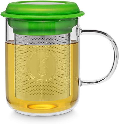 """Buntfink """"TeaMug"""" Teeglas mit Edelstahl-Sieb und Deckel, die Teetasse besteht aus hitzebeständigen Borosilikat-Glas, der Filter kann aus der Tasse entfernt Werden (Tee) 400ml – (Grün)"""