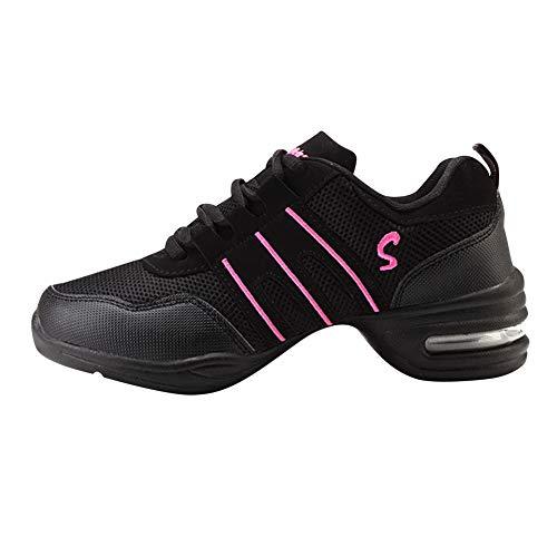 Huatime Zapatillas de Deporte para Mujer Jazz - Suave Ligero Moderno Zapatos de Baile Malla Superior Suela de Goma Ata para Arriba Low-Top Comodidad Deporte Zapatos de La Aptitud