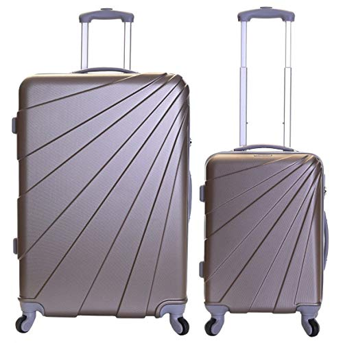 Slimbridge Fusion Set of 2 Super Lightweight Hard Shell Luggage Bags - Champagne