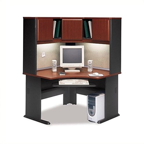 "Bush Business Series A 48"" Corner Computer Hutch Desk in Hansen Cherry"