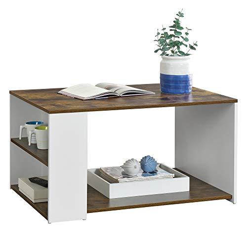[en.casa] Couchtisch Filipstad 43x71x56cm Beistelltisch Wohnzimmertisch Sofatisch aus Spanplatte Weiß mit Eiche-Optik