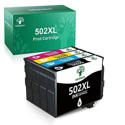 GREENSKY Cartucce d'inchiostro di ricambio Epson 502XL compatibili con Epson Workforce WF-2860DWF,WF-2865DWF, Epson Expression Home XP-5100,Stampante XP-5105(1 Nero, 1 ciano, 1 Magenta, 1 Giallo)