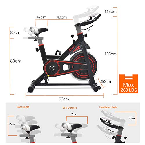 iDeer Life Exercise Bike, Indoor Cycling Bike, Smooth & Quiet Stationary Spin Bike, Fully Adjustable w/Heart Rate Sensor