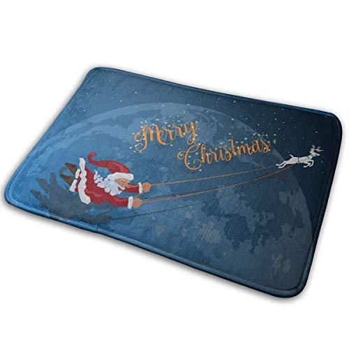 Felpudo de Interior Papá Noel Volando con Ciervo Elegante Felpudo de Bienvenida Entrada Tapetes Antideslizantes...